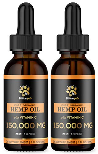 Billion Pets (2 Pack) – Hemp Oil for Dogs and Cats – Immunity Booster – Calming Aid for Dogs – Vitamin C