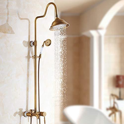 Antieke douchecabine in zwarte verpakking voor warme en koude douchecabine van volledig koper met gouden douche, K L