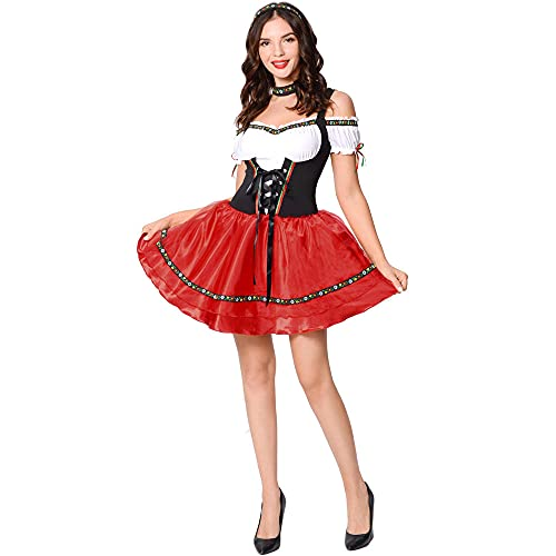 Disfraz para mujer, estilo nacional, fiesta de cerveza, disfraz de Oktoberfest, con delantal y uniforme de criada, como se muestra