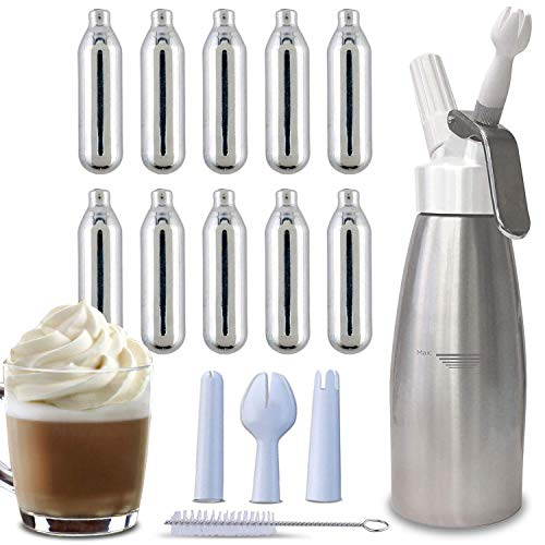 Whipped Cream Dispenser + 10 Whip Cream Chargers (8 gm) - Durable Aluminium Bottle, (500ml / 1 Pint), 3 Various Decorating Nozzles - Whipped Cream Maker/Canister is Great for Topping Desserts