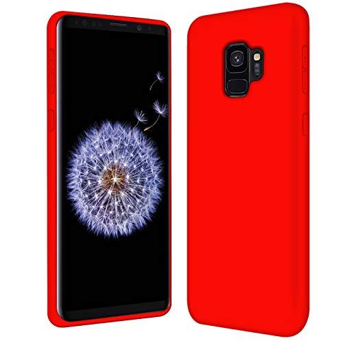 Verco Funda para Galaxy S9, Suave de Silicona Líquida Carcasa Anti-Choques Case para Samsung Galaxy S9 Funda, Rojo
