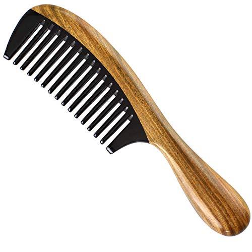 Liseng Peines de madera de sándalo 100% natural, hechos a mano, antiestáticos, aroma de sándalo natural, desenredante de pelo natural (diente ancho de cuerno de búfalo)
