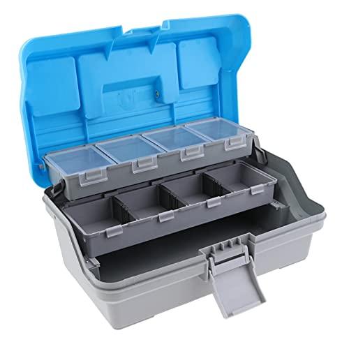 Caja de Herramientas 3 capas Caja de herramientas Organizador de plástico duro para tackle de pesca señuelos Caja de almacenamiento de tornillo de llave de hardware con asa Caja de almacenamiento port