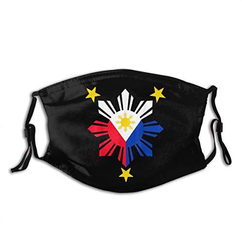 Tribal Philippines Filipino Sun and Stars Flag Cloth Face Mask Washable with Adjustable Elastic Ear Loops Reusable Print Bandanas Black