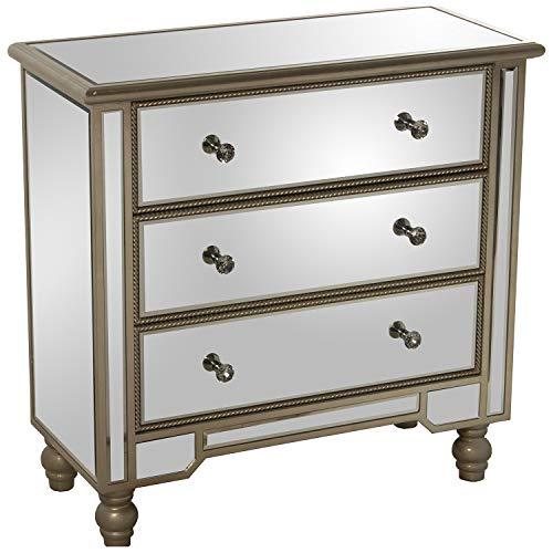 DRW Mueble Comoda con 3 Cajones de Cristal Espejo y Madera en Espejo 80x35x77cm