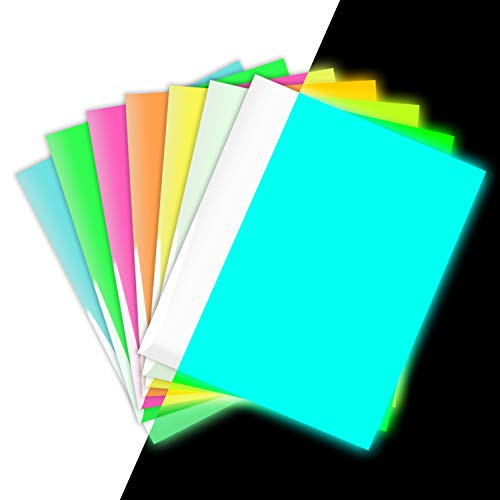 Glow in The Dark Vinyl HTV Luminous Heat Transfer Iron on Halloween Vinyl:12 X 10 Assorted Multicolor Pack of 7 for T-Shirt DIY Party Craft