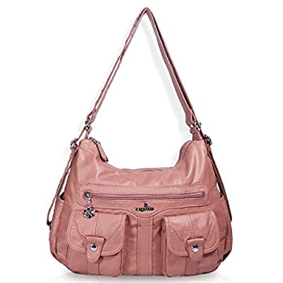 Angelkiss Women's Multifunctional Shoulder Hobo Bag Soft Leather Messenger Crossbody Purse Satchels Handbags with Zipper Pink (Z06-grey)
