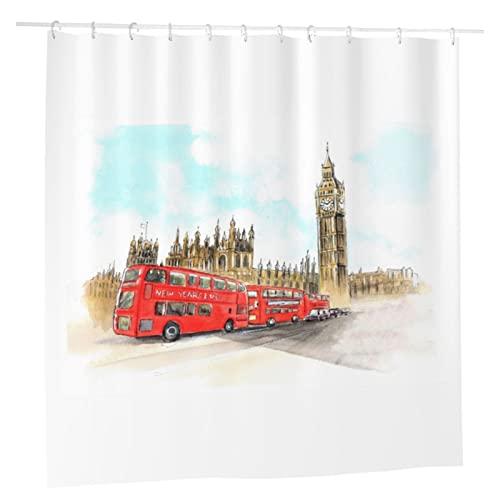 BHICULTD Historical Big Ben and Bus Bell Clock Tower Cortina de ducha, tela impermeable para baño con 12 ganchos, 180 x 180 cm