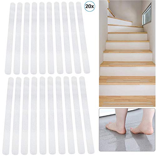 Nuluxi Transparante anti-slip strips voor trappen waterdicht trappen antislip trap transparante anti-slip trap plakband badaccessoires ideaal voor moeders, kinderen, senioren & huisdieren 20 stuks