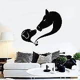 HFDHFH Perro Caballo Pared calcomanía Amor Animal Mascota Aseo Estudio habitación Arte Abstracto Pegatina 74X80 CM