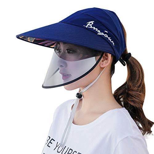 FEOYA - Sombrero Mujer Verano con Visera Pantalla Protectora Desmontable Ajustable para la Cara Ojos Completa Gorra Protector Facial Anti-Aceite Anti-Salpicadura Antivioleta Protección Solar