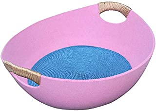 AM ANNA Cat Beds Cat House with Cool Mat Felt Cloth Breathable Kitten Puppy Cave Mat Sleeping Basket Pink