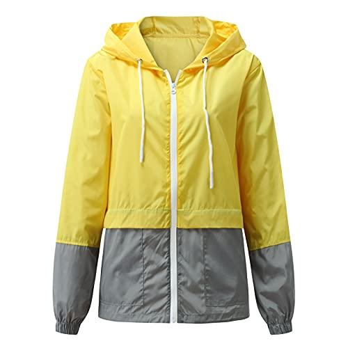 Abrigos de lluvia impermeables con capucha, color block cortavientos con cremallera, peso ligero con cordón, Gris Amarillo, M