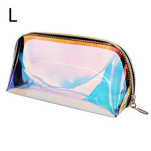 Mode Femmes Maquillage Sacs Case Laser cosmétiques Transparent Trousse de Maquillage Sac à Main Jelly Portable Make Up Pouch Organisateur (Color : L)