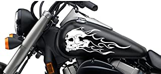 FGD Motorcycle Flaming Fanged Skull Gas Tank Decal 13x6