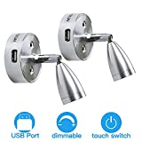 ALFU 12V - 24V LED RV Spotlight Reading Light 3500K Warm Boat Light with USB Charging Port,Touch Any Position to Switch Dimming,Aluminum Wall Light Interior Lighting for Truck Bedroom Boat, Pack of 2