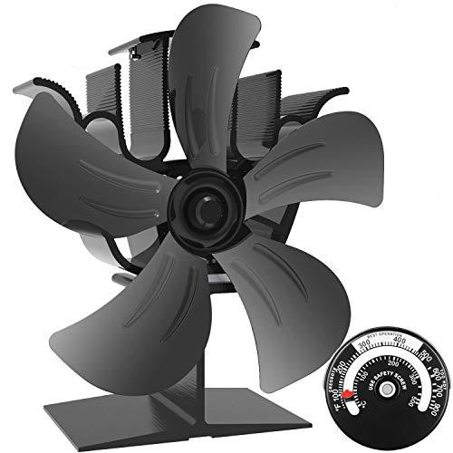 Stromloser Ventilator für Kamin Holzöfen Öfen, 5 Flügel Rotorblätter Kamin-Ventilator Ofenventilator Feuerstelle Kaminöfen Ofen Fan ohne Strom Umweltfreundlich(Schwarz)