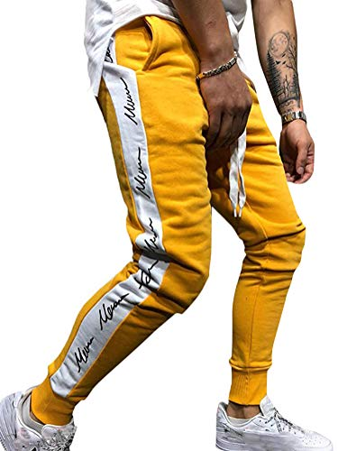Tomwell Jogginghose Herren Hose Stripe Pants Sport Fitness Trainingshose Slim Fit Sweatpants Trainingshose Jogger Fitness Sport Joggerhose Stoffhose Gelb Large