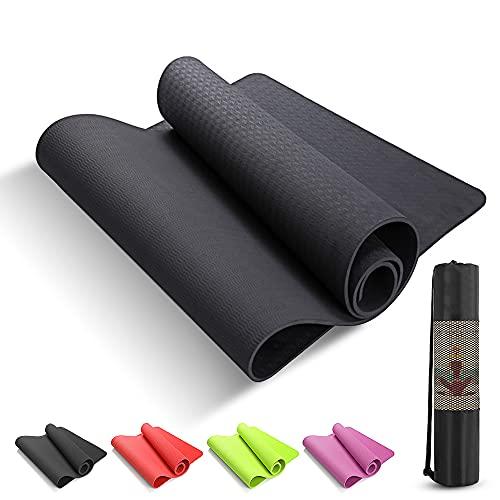 Tappetino Yoga e Fitness Professionale Antiscivolo Alto Spessore in TPE NERO