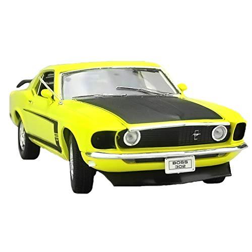GAOQUN-TOY Modèle de Voiture 1:18 Ford Mustang BOSS302 Modèle de Voiture en Alliage américain 1969 (Couleur : Le Jaune, Taille : 24CM*11CM*7CM)