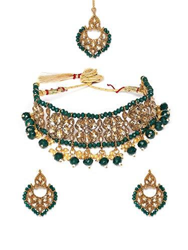 Zaveri Pearls Green Beads & Stones Traditional Choker Necklace, Earring & Mangtikka Set For Women-ZPFK9841
