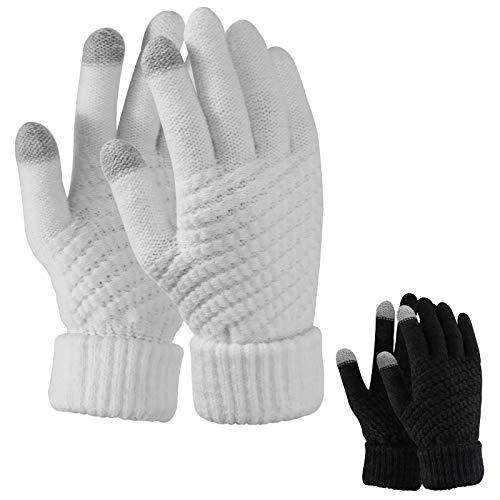 TAGVO 2 Paar Frauen Winter Strickhandschuhe,Paar Warme Handschuhe,Touchscreen Dünne Fleece Liner Vollfingerhandschuhe,Geeignet Für Indoor-Freizeitarbeit Oder Outdoor-Fahren Pendeln Einkaufen