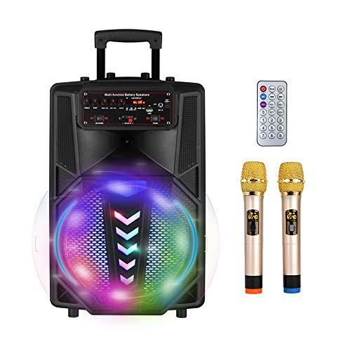S SMAUTOP Tragbares Karaoke Lautsprecher mit Bluetooth, 2 Drahtlose Mikrofone, Drahtlose Fernbedienung, Party-Lichteffekt und AUX-Eingang, Unterstützung für TF-Karte & USB, Wiederaufladbares PA-System