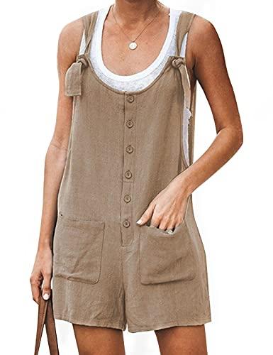 Yeokou Women's Casual Summer Cotton Linen Rompers Overalls Jumpsuit Shorts(Khaki-M)