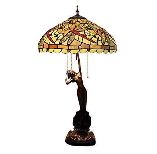 Tiffany Style Desk lamp, groen fondant libellula geStained glas lampenkap gemaakt van hars fit basis voor woonkamer slaapkamer nachtkastje decoratie 40 cm breed, 40 W * 3, E27