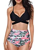 Yuson Girl Bikini Donna, a Vita Alta con Taglio Incrociato Sexy Costume da Bagno Bikini a Due Pezzi, Push Up Bandage Top High Waisted Stampa Bottom