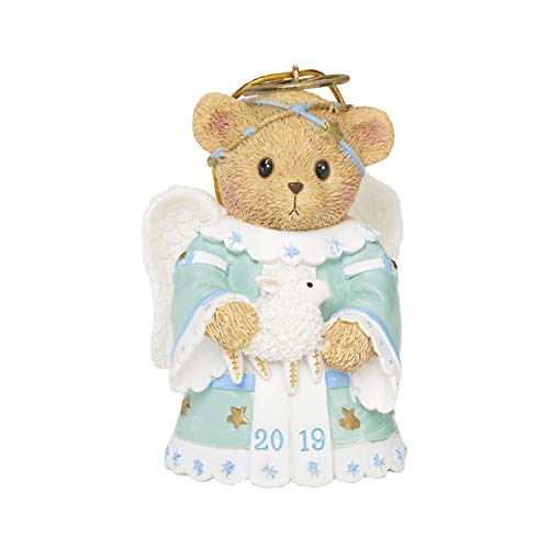 Roman Cherished Teddies, 2019 Dated Angel Bell Teddy Bear Ornament, 3.25' H, Resin and Wollastonite, Durable, Collectible Decoration, Decorative