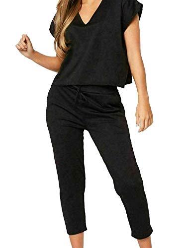 Islander Fashions Femmes col en v Baggy Haut Bas Surv�Tement Dames 2pcs co ord Costume Loungewear Black Medium/Large
