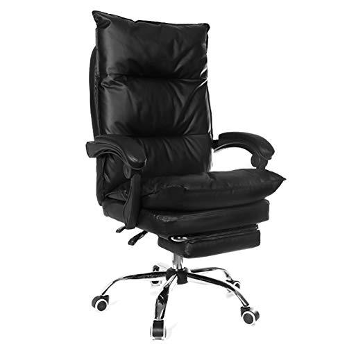 LYQQQQ Silla Oficina Ejecutiva ergonómico Computer Gaming Chair-Silla for Cafe Chaise (Color : Black with footrest)