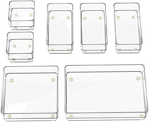 SMARTAKE 7 Piece Drawer Organizer with Non Slip Silicone Pads 4 Size Desk Drawer Organizer Trays product image