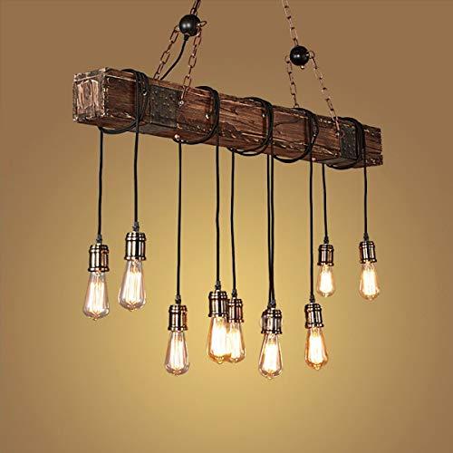 WWGzai - Lámpara de techo rústica con 10 luces de madera industrial para colgar en la pared, para mesa de comedor, cocina, bar, isla