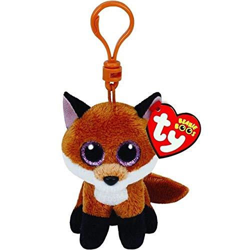 "Ty Beanie Boos Big Eyes Plush Dog Keychain Doll Unicorn Penguin Leopard Owl Monkey Clip Toys 4"" 10cm (Fox Clip) -  Green Riverside"