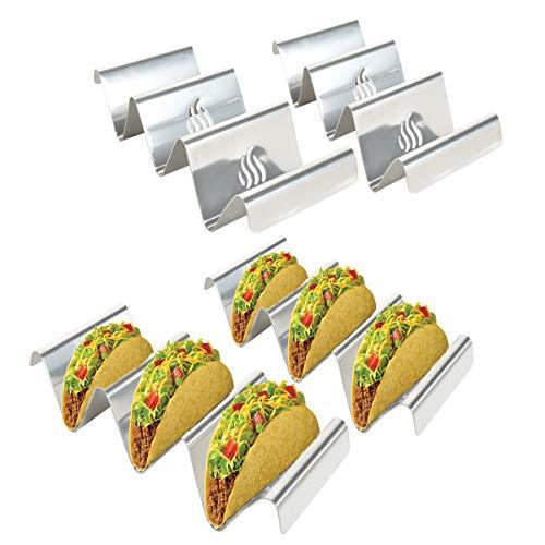 Onlyfire Edelstahl Taco Halter Ständer in Wellenform, 4 solide Taco Tabletts mit Griffen