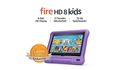 Fire HD 8 Kids-Tablet | Ab dem Vorschulalter | 8-Zoll-HD-Display, 32 GB, violette kindgerechte Hülle