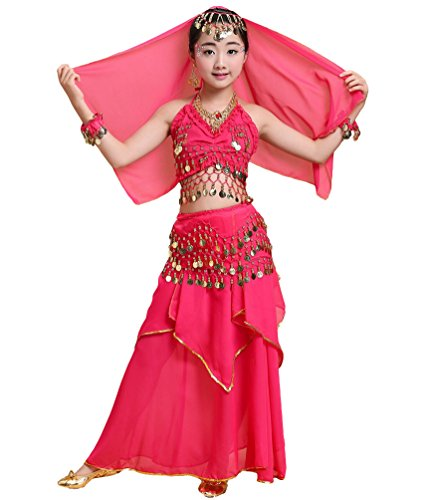 Anguang Mädchen Bauchtanz Rock Set Kinder Halloween Tanz Kostüm Rose#2 S