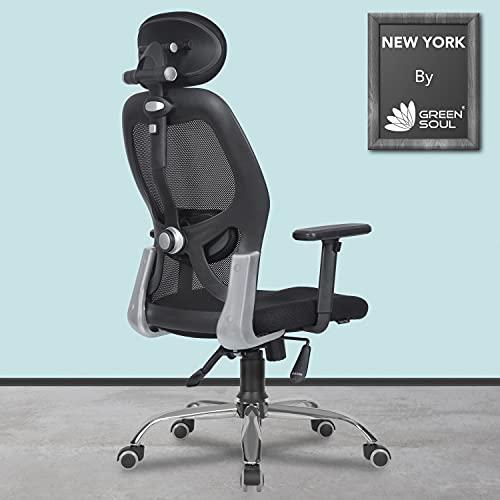 Green Soul Newyork High-Back Mesh Office Executive Ergonomic Chair with Adjustable Arms & Tilt Lock (Black)