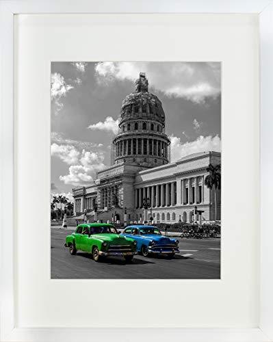 28 x 35 cm Bilderrahmen mit Passepartout 20 x 25 cm, Weiß