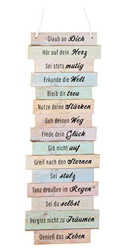 Bada Bing Wandschild Ca. 41 x 15 cm Glaub an Dich… Wünsche Motivation Bild Plankenoptik Spruch Schild Deko Geschenk Wandbild 79