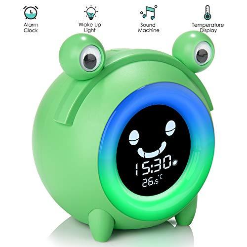 Reloj despertador para niños Dormir y levantarse para niños Reloj para entrenador Sueño y sonidos Máquina Luz de noche junto a la cama
