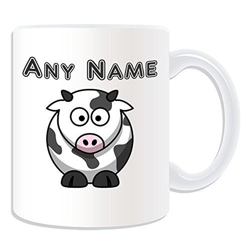 Regalo unigift - Tazza con mucca sciocca (tema animale, bianco) - qualsiasi nome/messaggio sul tuo unico