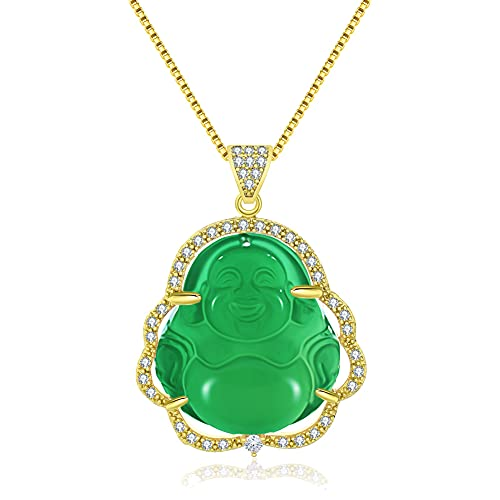 Real Green Buddha Jade Necklace for Women Buddha Necklace 18K Gold Plated Jade Pendant Crystal Necklace Cubic Zirconia G/G