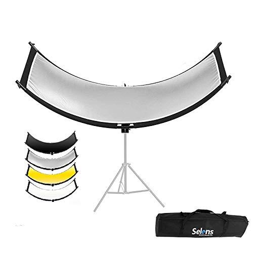 Selens 4 in 1 Reflektor 50x150cm U Form Gebogener Reflektoren Einstellbarer Beleuchtungs Diffusor Kit mit Tragetasche für Fotografie Fotostudio Porträt