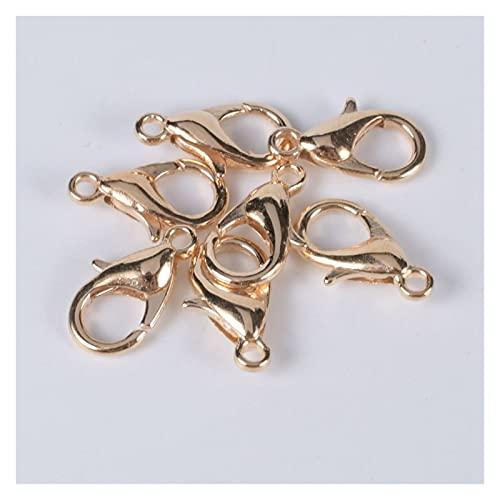 JOMOSIN SFSD809 - 20 broches de langosta para suministros de joyería, collares, pulseras, accesorios de bricolaje, conectores, ganchos para joyas (color: oro KC, tamaño: 14 mm x 7 mm)