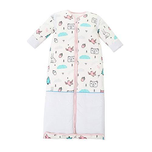 lulalula Sac de couchage pour bébé, manches détachables, unisexe, couverture épaisse, 100 % coton bio et soie, sac de couchage pour bébé de 0 à 2 ans, 89,9 cm