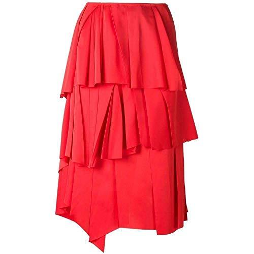 Cedric Charlier Runway Red Draped Ruffled Skirt