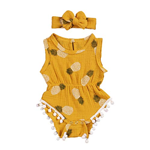 Bebé niña recién nacido verano algodón sin mangas cordones vestido niña impresión frutas ropa casa vacaciones (0 – 2 años) amarillo 90 cm(12-18 meses)